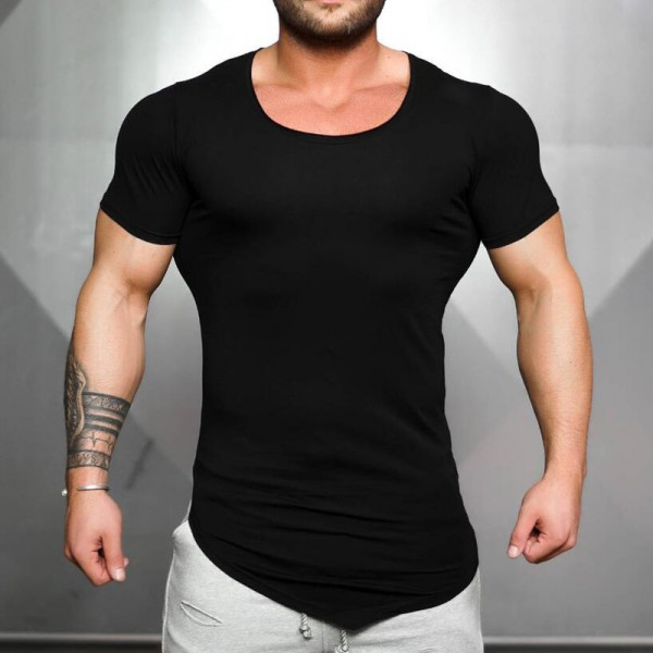 Clothing Tight Short Sleeve t shirt mens fitness t shirt Solid Color Gyms shirt men crossfit Summer top blank tshirt Extra Image 4