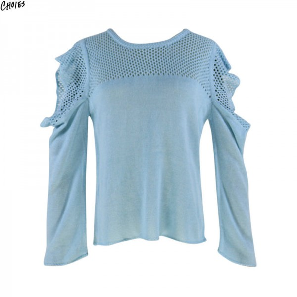 Cold Shoulder Jumper Frill Trim Mesh Stitch Knitted Sweater Women Hollow Out Long Round Neck High Street Pullover Extra Image 3