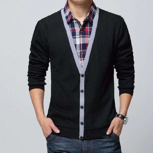 Collar Shirt Slim Fit Mens Autumn Winter Sweater Cardigan Thick Warm Social Business Dress For Males Extra Image 1