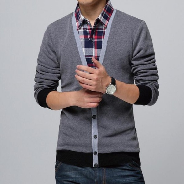 Collar Shirt Slim Fit Mens Autumn Winter Sweater Cardigan Thick Warm Social Business Dress For Males Extra Image 2