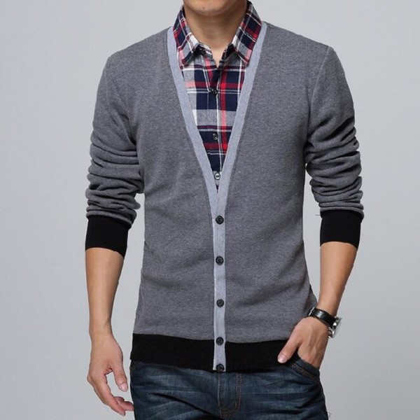 Collar Shirt Slim Fit Mens Autumn Winter Sweater Cardigan Thick Warm Social Business Dress For Males Extra Image 3