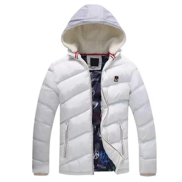 Contrast Color Winter Jackets Parka Fur Hood Winter Casual Coat For Men Extra Image 1