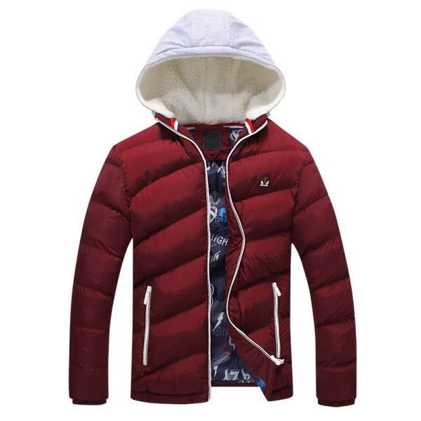Contrast Color Winter Jackets Parka Fur Hood Winter Casual Coat For Men Extra Image 2