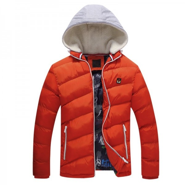 Contrast Color Winter Jackets Parka Fur Hood Winter Casual Coat For Men Extra Image 3