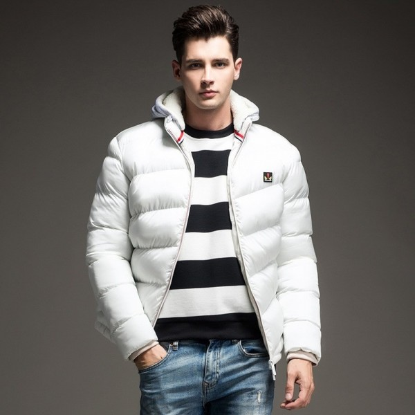 Contrast Color Winter Jackets Parka Fur Hood Winter Casual Coat For Men Extra Image 4