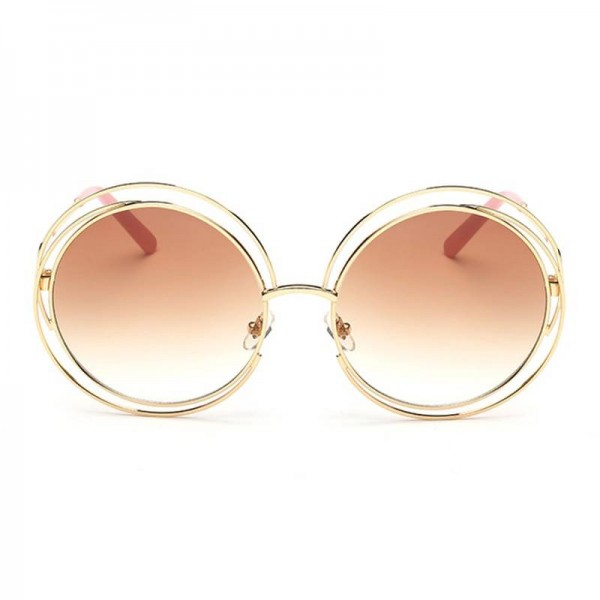 Copper Sunglasses Round Designer Eye Wear New Retro Fashion Eye Shades From Roza For New Trending Ladies Extra Image 1