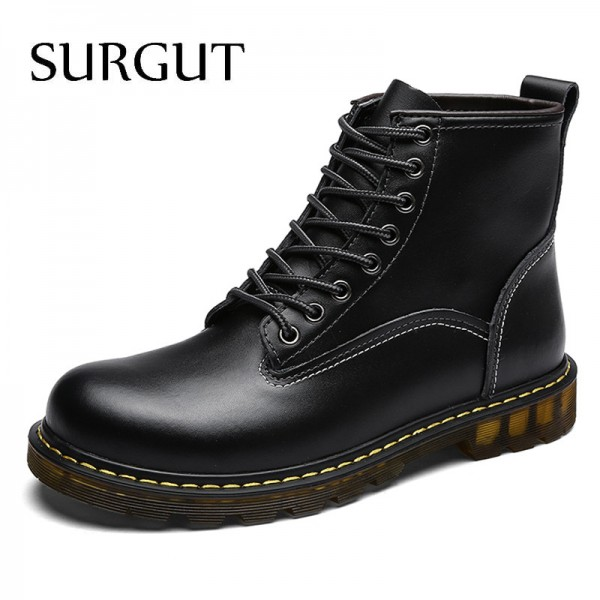 Cow Split Leather Boots Warm Fur Men Winter Shoes Waterproof Footwear High Quality Autumn Ankle Adult Men Boots
