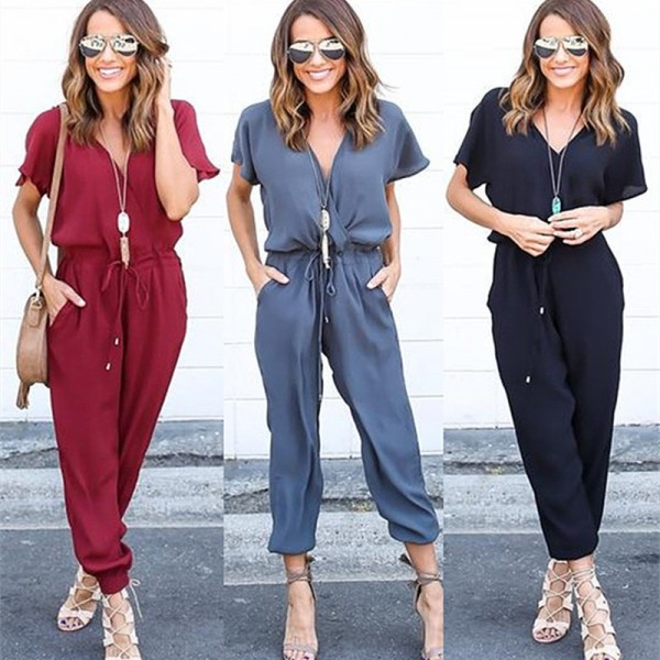 Cross Bandage Womens Rompers Jumpsuits New Summer Style Chiffon Short Sleeve Mini Dress Body Suits For Females