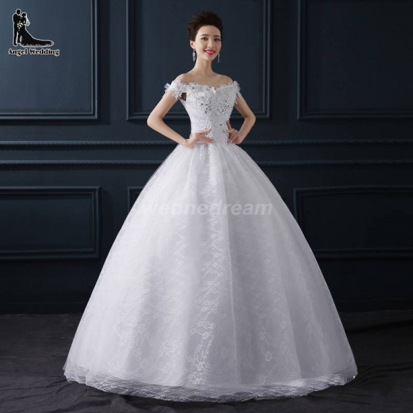 Crystal White Sexy Short Sleeve Lace Up Flower Bride Wedding Sweet Princess Wedding Dress Bridal Formal Thumbnail