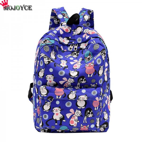 Cute Backpacks High Quality Women Backpacks Cartoon Printed Cat Pattern School Bag For Teenagers Feminina Bags Extra Image 3
