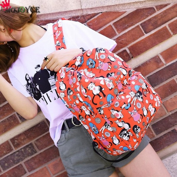 Cute Backpacks High Quality Women Backpacks Cartoon Printed Cat Pattern School Bag For Teenagers Feminina Bags Extra Image 5
