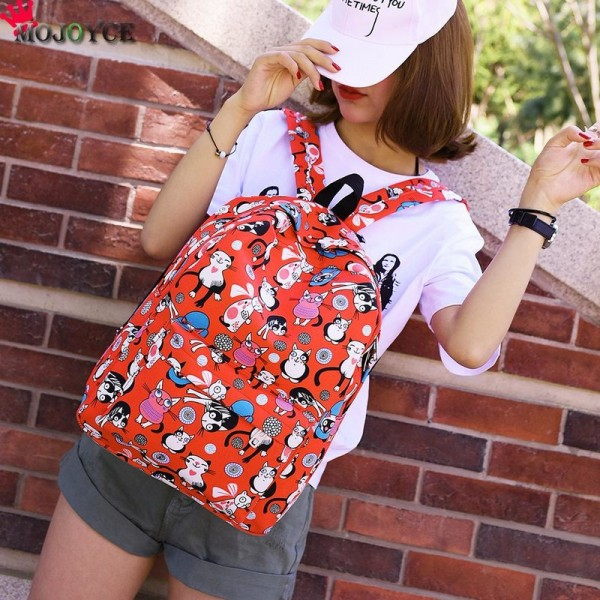 Cute Backpacks High Quality Women Backpacks Cartoon Printed Cat Pattern School Bag For Teenagers Feminina Bags Extra Image 6