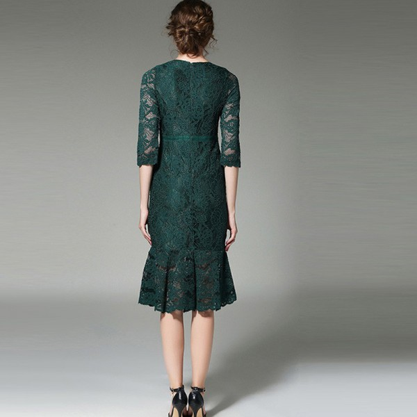 Dark Green Black Lace Three Quarter Sleeves Mermaid Cocktail Dresses Embroidery Party Dress Female Formal Dress Extra Image 2