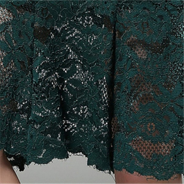 Dark Green Black Lace Three Quarter Sleeves Mermaid Cocktail Dresses Embroidery Party Dress Female Formal Dress Extra Image 6