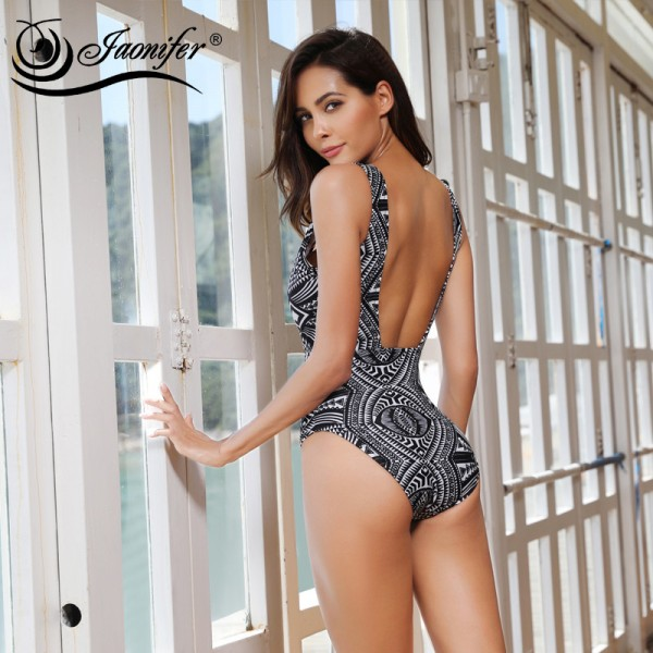Deep V One Piece Swimsuit 2018 Women Sexy Geometric Design Swimwear Womens Backless Swimming Bathing Suit Extra Image 5