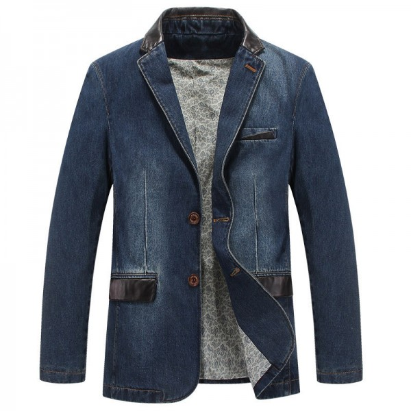 Denim Blazer Spring Autumn Fashion Male Slim Fit Casual Denim Suit Jacket Men Jeans Blazer Coat For Men