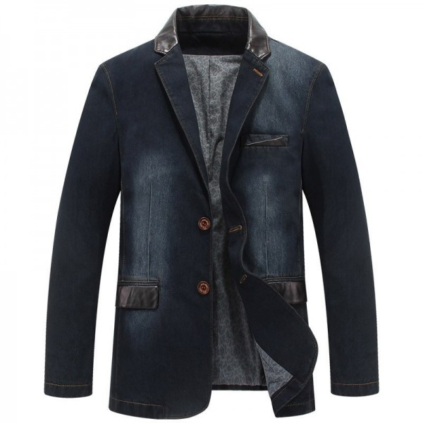 Denim Blazer Spring Autumn Fashion Male Slim Fit Casual Denim Suit Jacket Men Jeans Blazer Coat For Men Extra Image 1