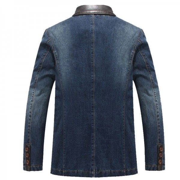 Denim Blazer Spring Autumn Fashion Male Slim Fit Casual Denim Suit Jacket Men Jeans Blazer Coat For Men Extra Image 2