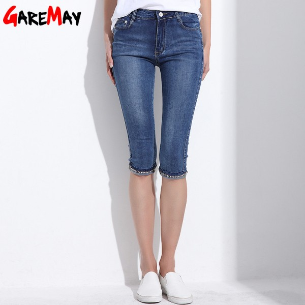 Denim Capri Skinny Jeans Woman Stretch High Waist Jeans Plus Size Short Denim Pants For Women Summer Clothing Extra Image 4