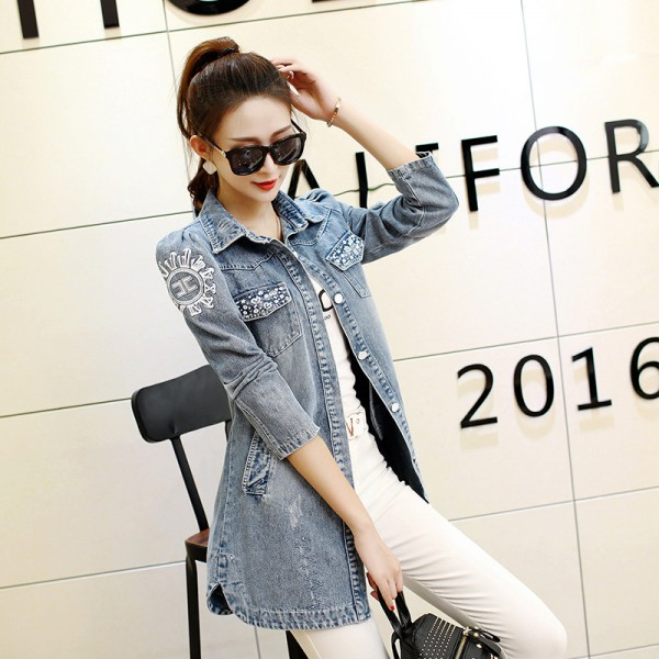 Denim Jacket Women Fashion New Back Printed Basic Coats Long Vintage Jean Jacket Casual Slim Four Pockets Outwear Extra Image 4