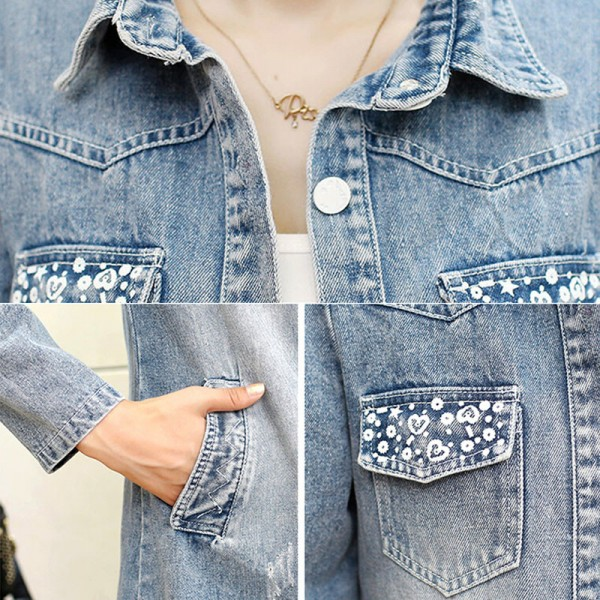 Denim Jacket Women Fashion New Back Printed Basic Coats Long Vintage Jean Jacket Casual Slim Four Pockets Outwear Extra Image 6