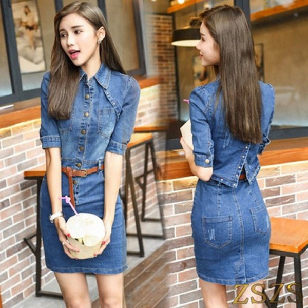 Denim Sexy Dresses For WOmen Backless Split Rivet Buttons Hip Summer Dress Sundress Blue For Women Thumbnail