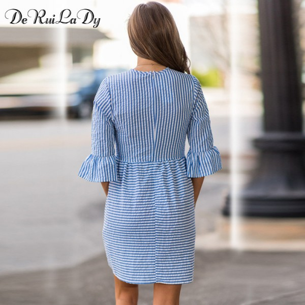 DeRuiLaDy Women Fashion Striped Dress Autumn Elegant Flare Sleeve Casual Sweet Mini Dresses vestidos de festa Extra Image 2