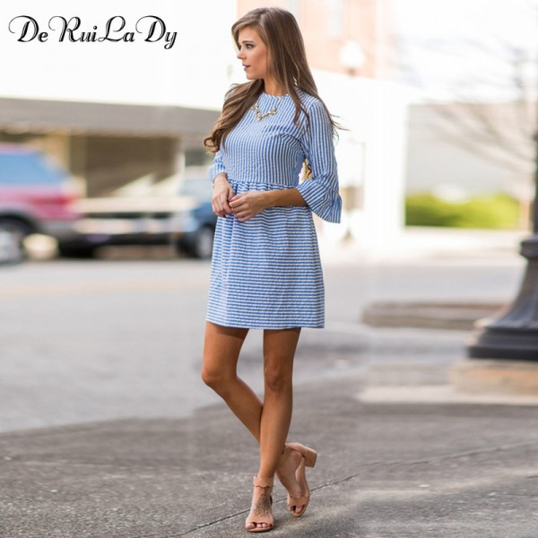 DeRuiLaDy Women Fashion Striped Dress Autumn Elegant Flare Sleeve Casual Sweet Mini Dresses vestidos de festa Extra Image 3