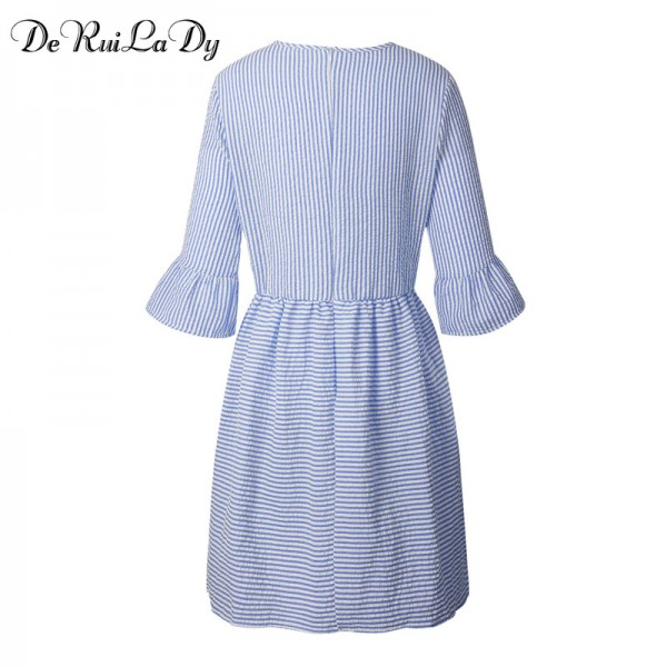 DeRuiLaDy Women Fashion Striped Dress Autumn Elegant Flare Sleeve Casual Sweet Mini Dresses vestidos de festa Extra Image 6