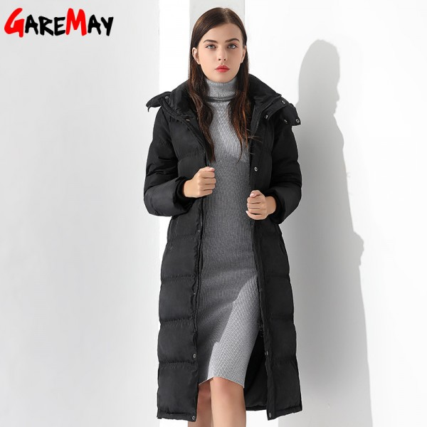 Down Jackets Women Coat Winter Warm Extra Long Jacket Female Coats Black Feather Parka Doudoune Outwear Hooded Extra Image 4