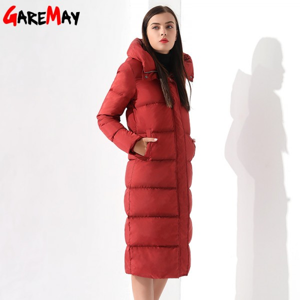 Down Parka Womens Long Down Jackets Winter Femme Coats For Women Outwear Female Long Hooded Coat Feather