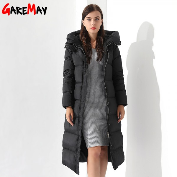 Down Parka Womens Long Down Jackets Winter Femme Coats For Women Outwear Female Long Hooded Coat Feather Extra Image 4