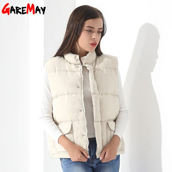 Down Vest Women Outwear Female Clothing Thicken Winter Warm White Jacket Causal Vest Coat Sleeveless Down Parka Extra Image 2
