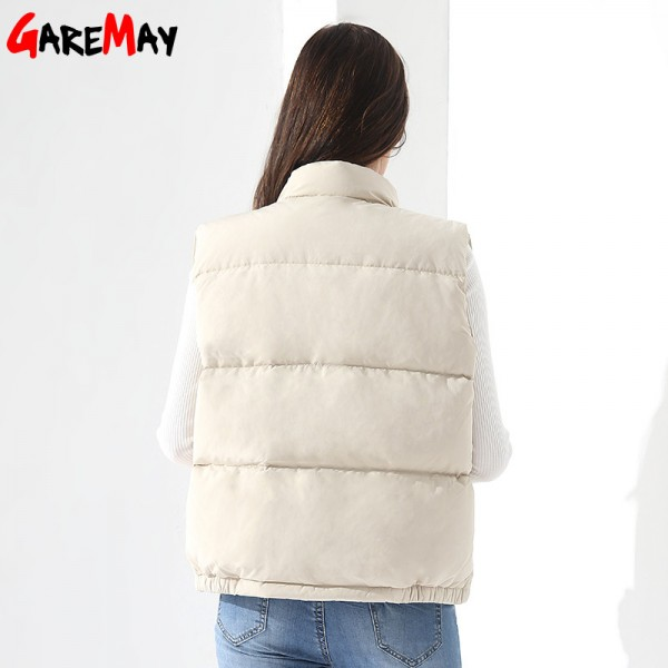 Down Vest Women Outwear Female Clothing Thicken Winter Warm White Jacket Causal Vest Coat Sleeveless Down Parka Extra Image 3