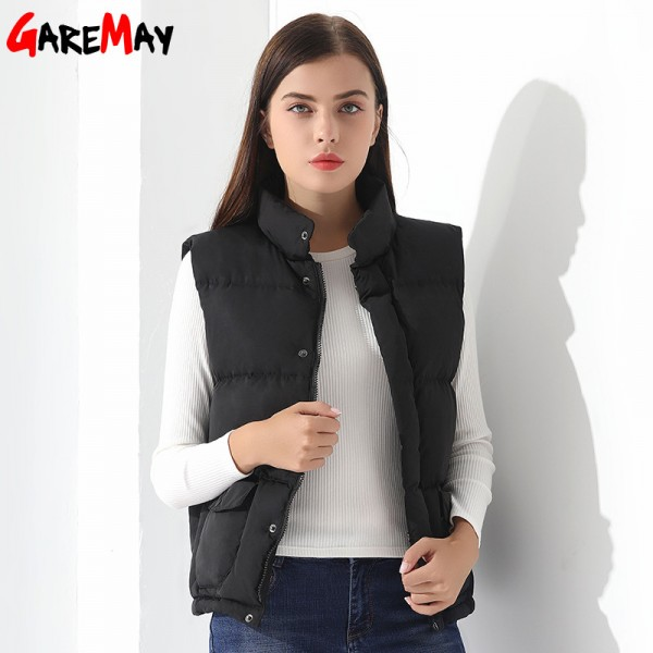 Down Vest Women Outwear Female Clothing Thicken Winter Warm White Jacket Causal Vest Coat Sleeveless Down Parka Extra Image 4