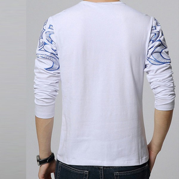 Dragon Printed T Shirts For Men High End Autumn Spring Tees Long Sleeved Plus Size T Shirts For Men Extra Image 2