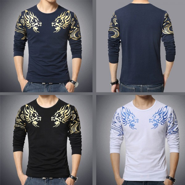 Dragon Printed T Shirts For Men High End Autumn Spring Tees Long Sleeved Plus Size T Shirts For Men Extra Image 3