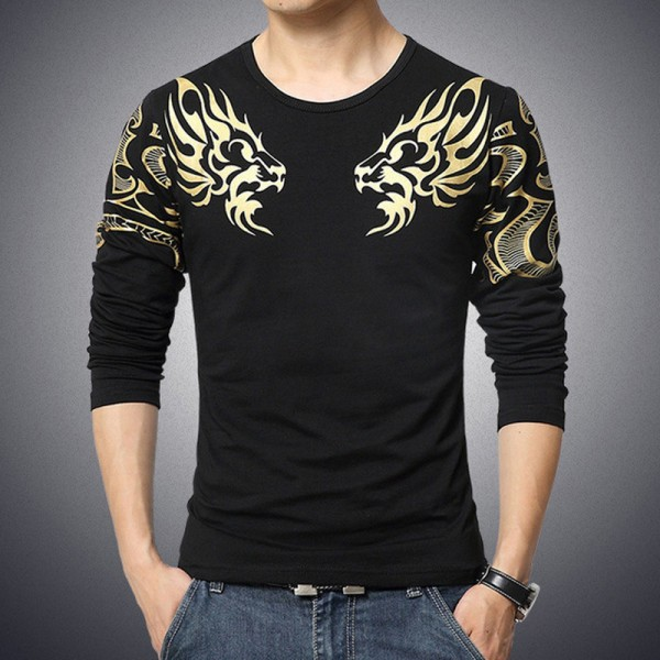 Dragon Printed T Shirts For Men High End Autumn Spring Tees Long Sleeved Plus Size T Shirts For Men Extra Image 5