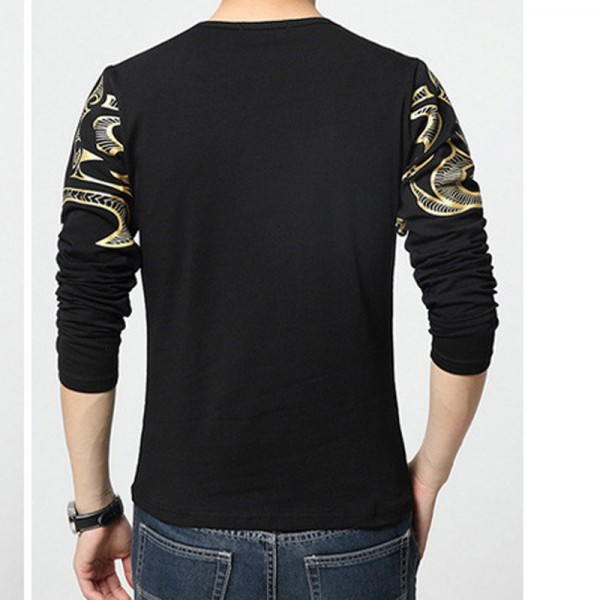 Dragon Printed T Shirts For Men High End Autumn Spring Tees Long Sleeved Plus Size T Shirts For Men Extra Image 6