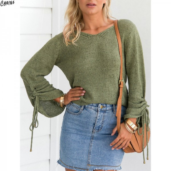 Drawstring Cuff Ribbed Trim Drop Shoulder Knitted Sweater Women Casual Round Neck Oversized Loose Autumn Jumper Top Extra Image 4