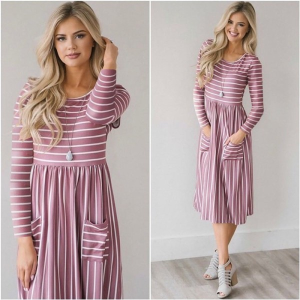 Dress Women Spring 2019 Striped Beach Summer Dresses Casual Long Sleeve Midi Dress With Pockets Women Robe Extra Image 2