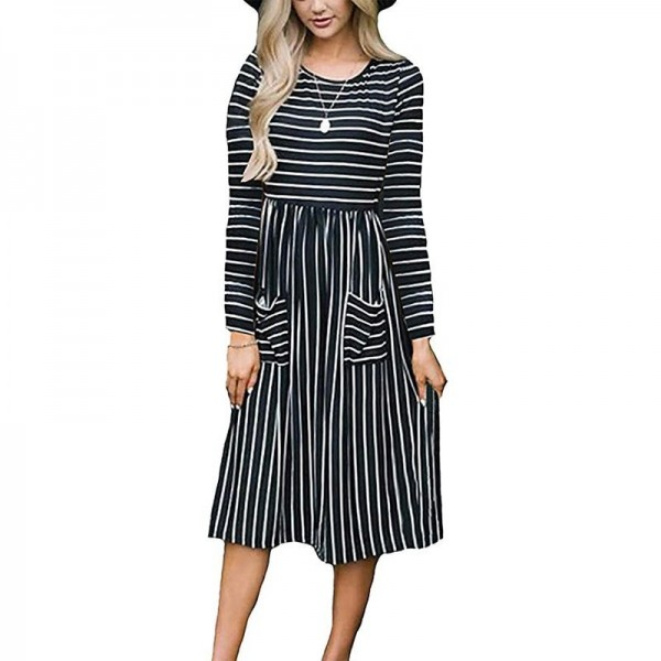 Dress Women Spring 2019 Striped Beach Summer Dresses Casual Long Sleeve Midi Dress With Pockets Women Robe Extra Image 5