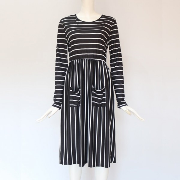 Dress Women Spring 2019 Striped Beach Summer Dresses Casual Long Sleeve Midi Dress With Pockets Women Robe Extra Image 6