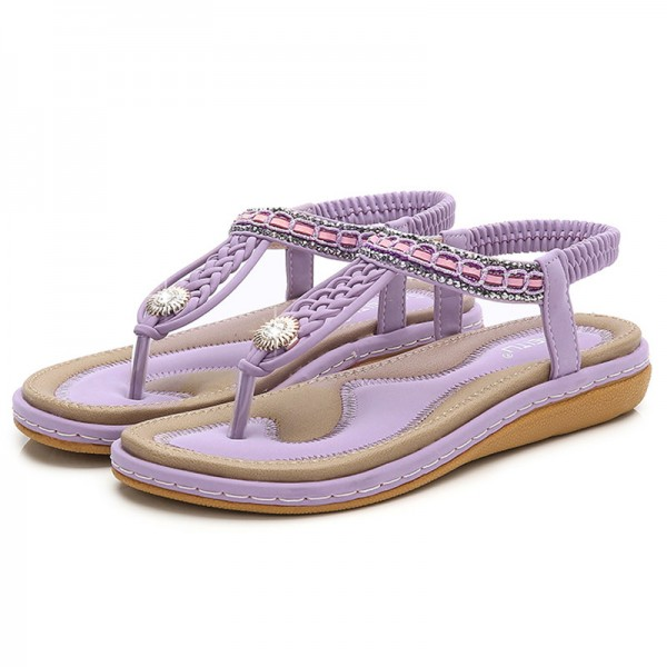 Elastic Band Women Sandals Straw String Beading Platform Flats Sandals Hot Beach Shoes Woman Plus Size 36 44