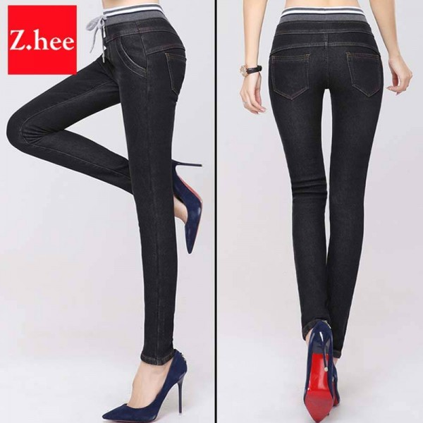 Elastic Cashmere Warm High Waist Jeans Latest Style Fashion For Women Thumbnail