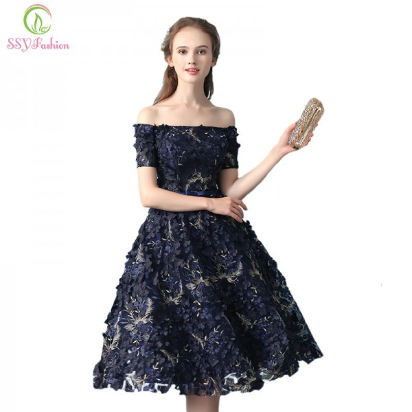 Elegant Banquet Lace Flower Evening Dress Boat Neck Navy Blue Appliques Short Formal Party Gown Ladies Plus Size Robe Extra Image 1