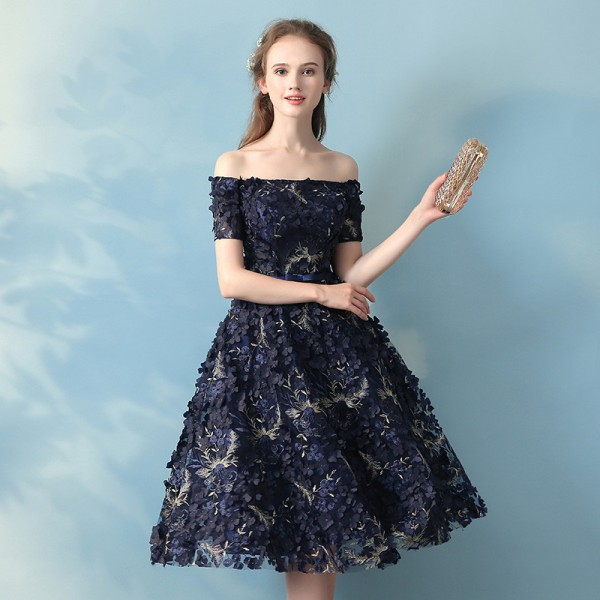 Elegant Banquet Lace Flower Evening Dress Boat Neck Navy Blue Appliques Short Formal Party Gown Ladies Plus Size Robe