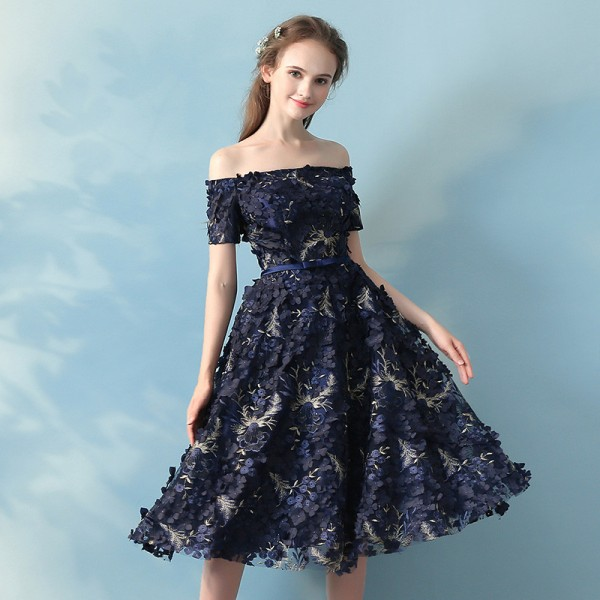Buy Elegant Banquet Lace Flower Evening Dress Boat Neck Navy Blue