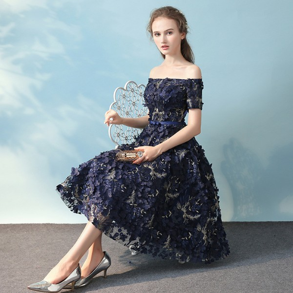 Elegant Banquet Lace Flower Evening Dress Boat Neck Navy Blue Appliques Short Formal Party Gown Ladies Plus Size Robe Extra Image 5