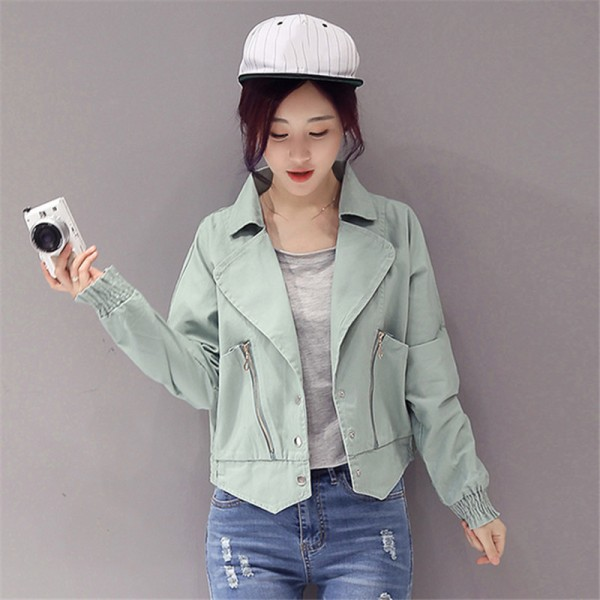 Elegant Fashion New Arrivals Pink Denim Jacket Women Spring Autumn Jacket For Women Clothing Zipper Pockets Denim Coats Extra Image 2